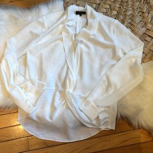 1 State winter white blouse xs deep v neck sexy